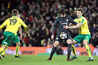 Álvaro Morata of Chelsea under pressure from Christoph Zimmermann of Norwich City during Norwich City vs Chelsea, Emirates FA Cup Football at Carrow Road on 6th January 2018