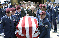 April 2003 File Photo - At McGuire Air Force Base (AFB), New Jersey, the US Air Force (USAF) Airmen from the 106th Pararescue Squadron (PS), Long Island, New York, carry the flag draped casket of Master Sergeant (MSGT) Michael Maltz, who was killed when the Pave Hawk helicopter he was aboard crashed in Afghanistan, in support of Operation IRAQI FREEDOM.