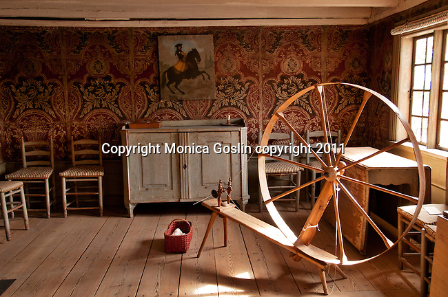 A wheel for making thread at the Skogholm Manor at Skansen in Stockholm, the outdoor museum of traditional Swedish buildings and farmsteads