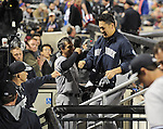 (R-L) Masahiro Tanaka, Brian Roberts, Joe Girardi (Yankees),<br /> MAY 14, 2014 - MLB :<br /> Masahiro Tanaka of the New York Yankees is congratulated by teammate Brian Roberts and manager Joe Girardi back in the dugout after hitting a single in the ninth inning during the Major League Baseball game against the New York Mets at Citi Field in Flushing, New York, United States. (Photo by AFLO)