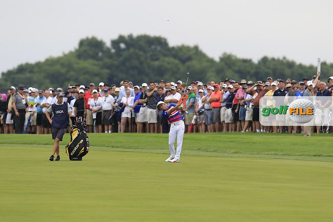 Ricky Fowler (USA) plays his 2nd shot on the 4th hole during Thursday's Round 1 of the 2016 U.S. Open Championship held at Oakmont Country Club, Oakmont, Pittsburgh, Pennsylvania, United States of America. 16th June 2016.<br /> Picture: Eoin Clarke | Golffile<br /> <br /> <br /> All photos usage must carry mandatory copyright credit (&copy; Golffile | Eoin Clarke)