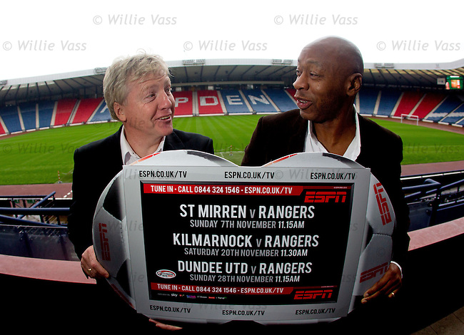 Frank McAvennie and Mark Walters promote the weekend's ESPN TV games at Hampden today