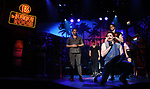 """Matt Ban, Mitchell Jarvis and CJ Eldred during the tech rehearsal for """"Rock of Ages"""" 10th Anniversary Production on June 13, 2019 at the New World Stages in New York City."""