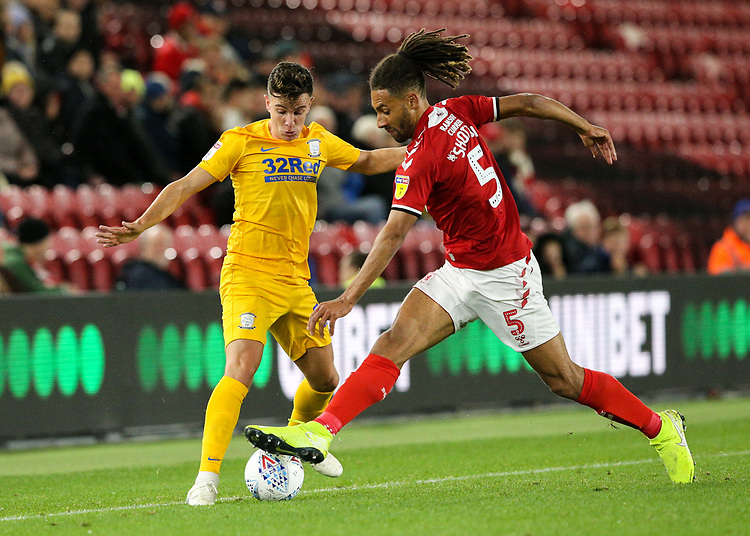 Preston North End's Josh Harrop vies for possession with Middlesbrough's Ryan Shotton<br /> <br /> Photographer Alex Dodd/CameraSport<br /> <br /> The EFL Sky Bet Championship - Middlesbrough v Preston North End - Tuesday 1st October 2019  - Riverside Stadium - Middlesbrough<br /> <br /> World Copyright © 2019 CameraSport. All rights reserved. 43 Linden Ave. Countesthorpe. Leicester. England. LE8 5PG - Tel: +44 (0) 116 277 4147 - admin@camerasport.com - www.camerasport.com