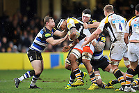 Nathan Hughes of Wasps is tackled. Aviva Premiership match, between Bath Rugby and Wasps on February 20, 2016 at the Recreation Ground in Bath, England. Photo by: Patrick Khachfe / Onside Images