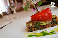 Brandade stuffed in red pepper, on  veggies (Licence this image exclusively with Getty: http://www.gettyimages.com/detail/98871178 )