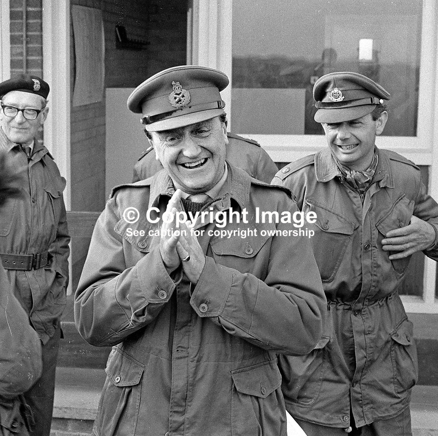 Lieutenant General Harry Tuzo, army supremo in N Ireland, escorted by armed bodyguards, visits Ballykinlar Army Camp, Co Down, N Ireland. 197/71, 197104250197d.<br />