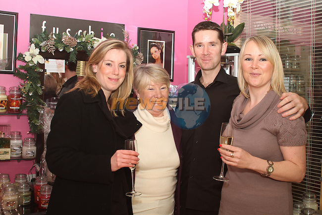 Susan Mullen with Esther, Paul and Louise Cambell at the Customer Night in Haven Holistic and Beauty Centre celebrating their 5 years in business...(Photo credit should read Jenny Matthews www.newsfile.ie)....This Picture has been sent you under the conditions enclosed by:.Newsfile Ltd..The Studio,.Millmount Abbey,.Drogheda,.Co Meath..Ireland..Tel: +353(0)41-9871240.Fax: +353(0)41-9871260.GSM: +353(0)86-2500958.email: pictures@newsfile.ie.www.newsfile.ie.