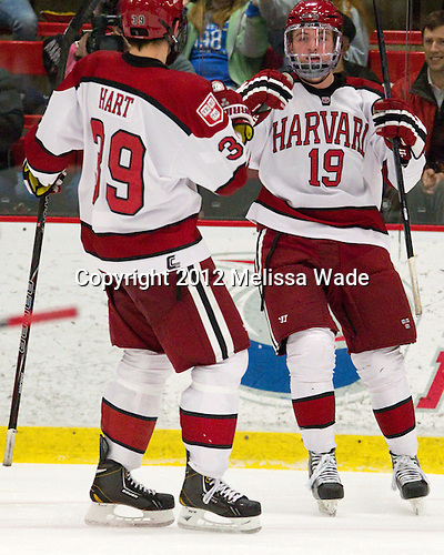 Brian Hart (Harvard - 39), Jimmy Vesey (Harvard - 19) - The Harvard University Crimson defeated the visiting Rensselaer Polytechnic Institute Engineers 4-0 (EN) on Saturday, November 10, 2012, at Bright Hockey Center in Boston, Massachusetts.