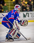 19 January 2018: University of Massachusetts Lowell Riverhawks Goaltender Tyler Wall, a Sophomore from Leamington, Ontario, in second period action against the University of Vermont Catamounts at Gutterson Fieldhouse in Burlington, Vermont. The Riverhawks rallied to defeat the Catamounts 3-2 in overtime of their Hockey East matchup. Mandatory Credit: Ed Wolfstein Photo *** RAW (NEF) Image File Available ***