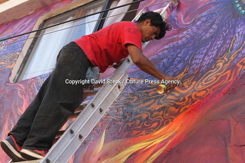 Quer&eacute;taro,Qro. 26 de Enero 2014.: El grupo de arte urbano &quot;La Espiral&quot;, compuesto por sus integrantes &quot;Crime&quot;, &quot;Blue&quot; y &quot;Nobs&quot;, termin&oacute; su mural referente a la cosmogon&iacute;a maya en la fachada del otrora famoso centro cultural &quot;Pink House&quot;, marcando as&iacute; el d&eacute;cimo aniversario que cerr&oacute; actividades.<br /> <br /> Este recinto se conoc&iacute;a por integrar propuestas musicales de grupos queretanos y nacionales de primera l&iacute;nea con generos de m&uacute;sica tan variados como el rock met&aacute;lico, pasando por el blues, punk, reggae, ska, funk y muchos otros m&aacute;s.<br /> <br /> Foto: David Steck / Obture Press Agency