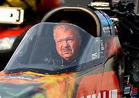 Feb 10, 2018; Pomona, CA, USA; NHRA top fuel driver Terry McMillen during qualifying for the Winternationals at Auto Club Raceway at Pomona. Mandatory Credit: Mark J. Rebilas-USA TODAY Sports
