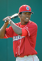 Outfielder Miguel Alvarez (18) of the Lakewood BlueClaws, Class A affiliate of the Philadelphia Phillies, in a game against the Greenville Drive on July 12, 2011, at Fluor Field at the West End in Greenville, South Carolina. (Tom Priddy/Four Seam Images)