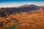 Aerial over Los Vaqueros Reservoir and Mount Diablo, Contra Costa County, California