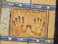 Hand print of the singer, Charles Trenet, outside the Palais des Festivals et des Congres, Cannes, France.
