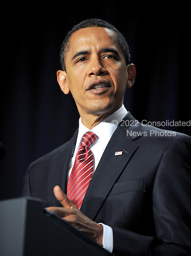 Washington, D.C. - February 5, 2009 -- United States President Barack Obama makes remarks at the National Prayer Breakfast in Washington, D.C. on Thursday, February 5, 2009..Credit: Ron Sachs / Pool via CNP