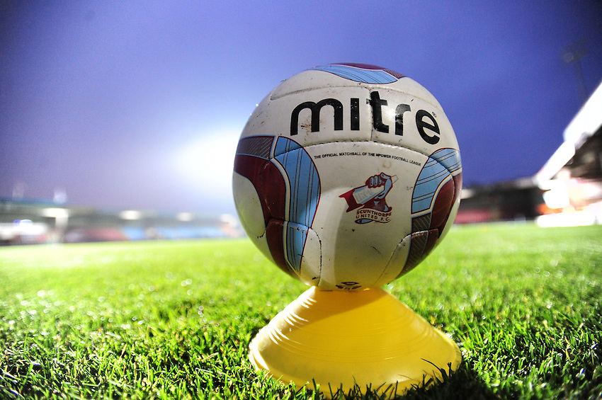 A Scunthorpe United branded Mitre match football sits on a training cone before an evening kick off at Scunthorpe United's Glanford Park ground..Football - npower Football League Division One - Scunthorpe United v Preston North End - Tuesday 23rd October 2012 - Glanford Park - Scunthorpe..