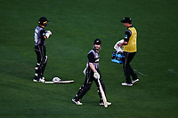 Kane Williamson of New Zealand departs after he is bowled by Ashton Agar of Australia. New Zealand Black Caps v Australia, Final of Trans-Tasman Twenty20 Tri-Series cricket. Eden Park, Auckland, New Zealand. Wednesday 21 February 2018. © Copyright Photo: Anthony Au-Yeung / www.photosport.nz