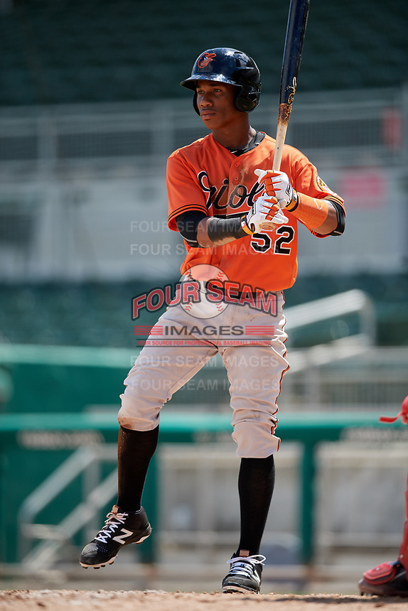 Baltimore Orioles shortstop Jean Carmona (52) at bat during a Florida Instructional League game against the Boston Red Sox on September 21, 2018 at JetBlue Park in Fort Myers, Florida.  (Mike Janes/Four Seam Images)