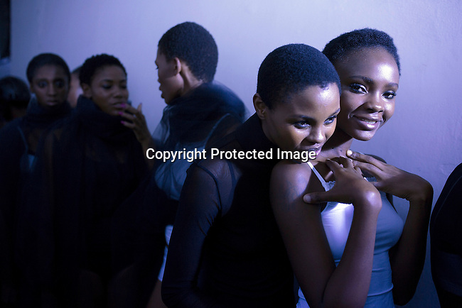 JOHANNESBURG, SOUTH AFRICA - MARCH 11: Models wait backstage for a show for the South African designer David Tlale during a show at Johannesburg Fashion Week week on March 11, 2016, at Nelson Mandela Square Johannesburg, South Africa. (Photo by: Per-Anders Pettersson)