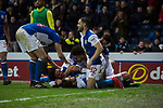 Blackburn Rovers 3 Shrewsbury Town 1, 14/01/2018. Ewood Park, League One. Home players celebrating forward Danny Graham's goal during the second-half as Blackburn Rovers played Shrewsbury Town in a Sky Bet League One fixture at Ewood Park. Both team were in the top three in the division at the start of the game. Blackburn won the match by 3 goals to 1, watched by a crowd of 13,579. Photo by Colin McPherson.
