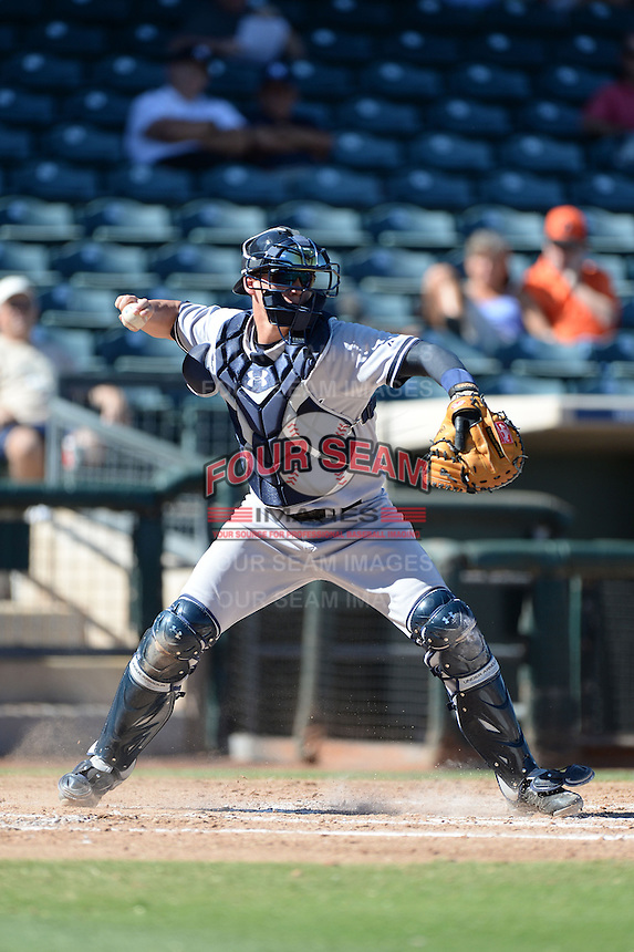 Scottsdale Scorpions infielder Peter O'Brien (28), of the New York Yankees organization, during an Arizona Fall League game against the Surprise Saguaros on October 17, 2013 at Surprise Stadium in Surprise, Arizona.  Surprise defeated Scottsdale 10-5.  (Mike Janes/Four Seam Images)