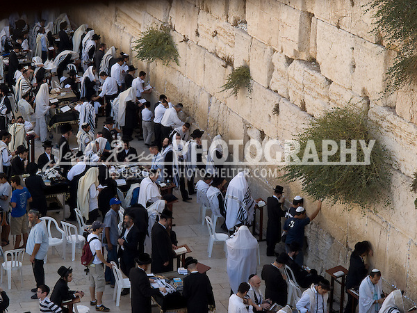 Wailing Wall<br /> <br /> Jews praying at the Wailing Wall. Written prayers are also left in the cracks of the wall, which every week are removed. Just at the other side of the wall, it is located the Dome of the Rock, the third most sacred place in the Islamic world.