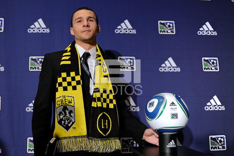 The Columbus Crew first pick and the eighth pick overall Dilly Duka (Rutgers) during the MLS SuperDraft at the Pennsylvania Convention Center in Philadelphia, PA, on January 14, 2010.