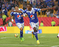 BOGOTA -COLOMBIA- 31 -08-2013. Dahwling Leudo  de Millonarios celebra su gol  contra el Huila ,  partido correspondiente a la octava  fecha de la  Liga Postobón segundo semestre disputado en el estadio Nemesio Camacho El Campín      / Dahwling Leudo of Los Millonarios celebrates his goal against Huila, game for the eighth day of the second semester Postobón League match at the Estadio Nemesio Camacho El Campin El Campin. Photo: VizzorImage / Felipe Caicedo / Sttaff