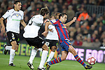 Football Season 2009-2010. Barcelona's player Xavi Hernandez (R) and Valencia's  Dealbert (L) during their spanish liga soccer match between Barcelona vs Valencia at Camp Nou  stadium in Barcelona. 14 March 2010.