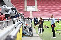 24th May 2020, Opel Arena, Mainz, Rhineland-Palatinate, Germany; Bundesliga football; Mainz 05 versus RB Leipzig;  Trainer Achim Beierlorzer (FSV Mainz 05) in TV Interview from 6 feet distance with boom microphone