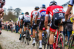 Peloton with Zdenek STYBAR from Czech Republic of Quick-Step Floors at the 4 star cobblestone sector 11 of Mons-en-Pévèle during the 2018 Paris-Roubaix race, France, 8 April 2018, Photo by Thomas van Bracht / PelotonPhotos.com | All photos usage must carry mandatory copyright credit (Peloton Photos | Thomas van Bracht)