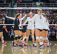 STANFORD, CA - November 4, 2018: Tami Alade, Meghan McClure, Holly Campbell, Kathryn Plummer, Kate Formico at Maples Pavilion. No. 2 Stanford Cardinal defeated the Utah Utes 3-0.