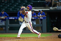 Andrew Cox (6) of the Clemson Tigers follows through on his swing against the Duke Blue Devils in Game Three of the 2017 ACC Baseball Championship at Louisville Slugger Field on May 23, 2017 in Louisville, Kentucky. The Blue Devils defeated the Tigers 6-3. (Brian Westerholt/Four Seam Images)
