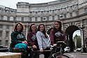 "London, UK. 08.07.2016. The all-female HandleBards troupe pose for photos in Trafalgar Square, before setting off on their 1,000 journey from London to George Square in Edinburgh, stopping and performing at venues around the UK on the way. The women will join the group's already-established all-male troupe on the road, for the company's ""4 for 400""season - four Shakespeare plays, each performed by four actors, who will cycle to over 70 parks, castles, boats, gardens, cathedrals, bicycle yards and stately homes this summer. Picture shows (l to r): Lizzie Muncey, Lotte Tickner, Lianne Harvey, Elle Dillon Reams. Photograph © Jane Hobson."