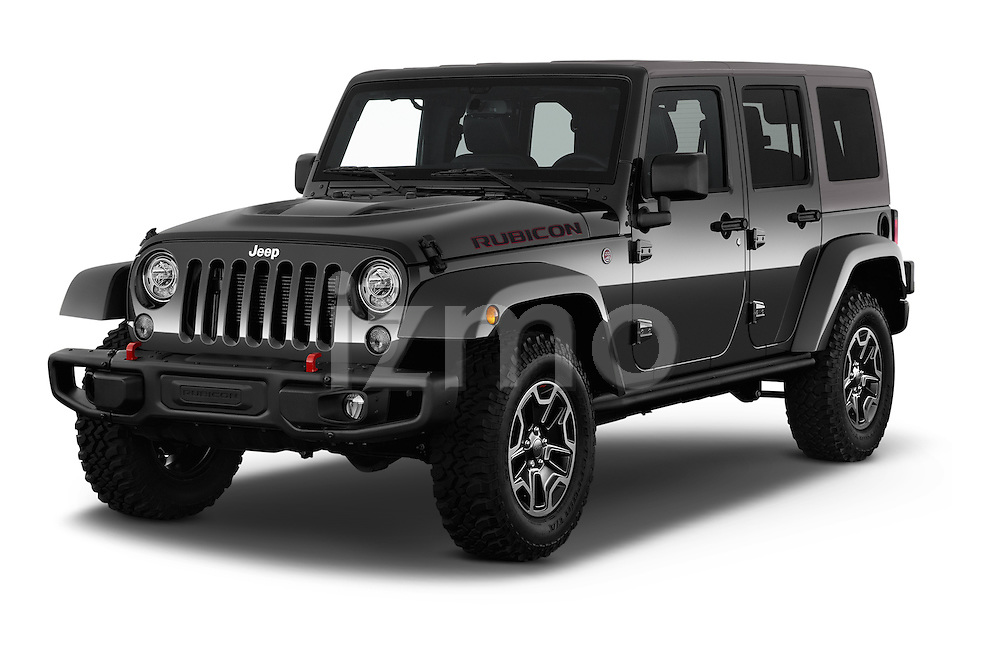 2017 JEEP Wrangler-Unlimited Rubicon-Hard-Rock 5 Door SUV Angular Front stock photos of front three quarter view