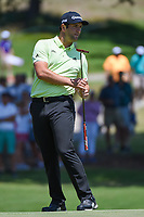 Jon Rahm (ESP) reacts to barely missing his birdie putt on 17 during round 1 of the WGC FedEx St. Jude Invitational, TPC Southwind, Memphis, Tennessee, USA. 7/25/2019.<br /> Picture Ken Murray / Golffile.ie<br /> <br /> All photo usage must carry mandatory copyright credit (© Golffile | Ken Murray)