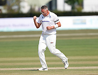 Mitch Claydon of Sussex celebrates after taking the wicket of Daniel Bell-Drummond during Kent CCC vs Sussex CCC, Bob Willis Trophy Cricket at The Spitfire Ground on 9th August 2020