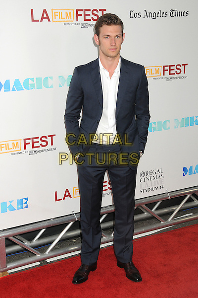 "Alex Pettyfer.""Magic Mike"" Los Angeles Film Festival 2012 Premiere held at Regal Cinemas LA Live, Los Angeles, California, USA..June 24th, 2012.full length suit white shirt black hands in pockets .CAP/ADM/BP.©Byron Purvis/AdMedia/Capital Pictures."