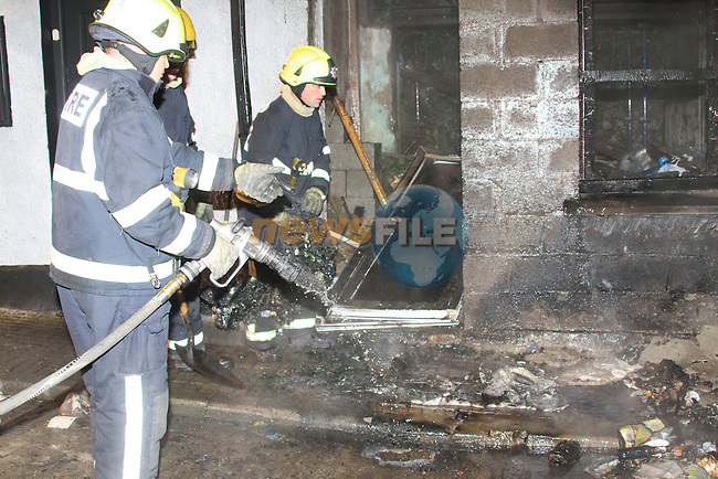 Two units from the Drogheda Fire service attended a house fire in Mill lane Trinity Street on Tuesday Night last, the internal and from of the house was gutted by fire..Picture Fran Caffrey/www.newsfile.ie.