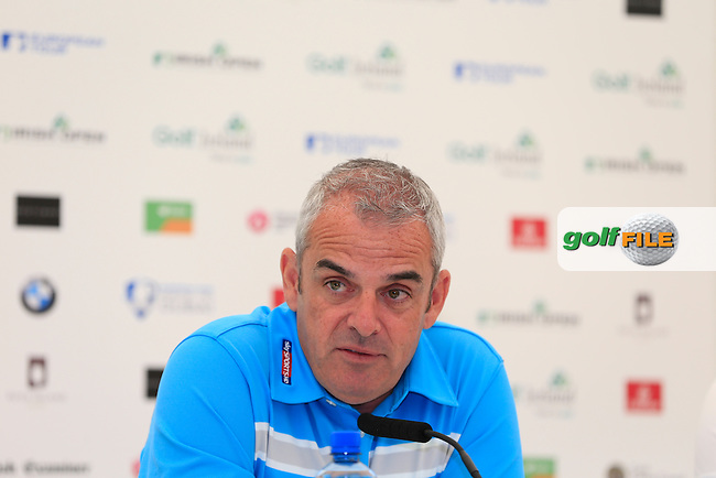Paul McGinley (IRL) speaking to the media ahead of this week European Tour tournament the Irish Open at Fota Island, Cork, Ireland<br /> Picture:  www.golffile.ie