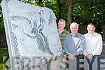 Pat Dawson, Michael O'Leary and James Feely with the new sculpture on Mission Road depicting the legend of the Chieftain O'Donoghue of Ross who is said to rise every May Day on his Snowy Stallion from Lough Lein