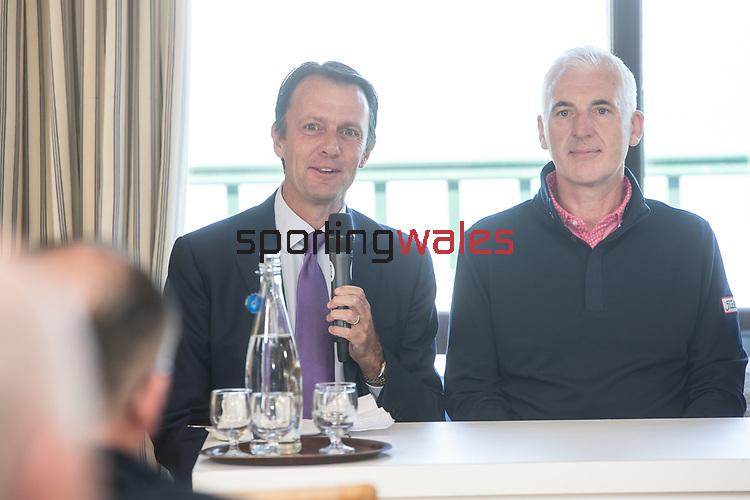 The Senior Open Championship Presented by Rolex Media Day.<br /> David MacLaren Head of the European Senior Tour alongside Welsh golfer Phillip Price speaking to the media.<br /> Royal Porthcawl<br /> 26.04.17<br /> ©Steve Pope - Sportingwales