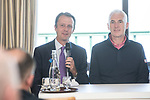 The Senior Open Championship Presented by Rolex Media Day.<br /> David MacLaren Head of the European Senior Tour alongside Welsh golfer Phillip Price speaking to the media.<br /> Royal Porthcawl<br /> 26.04.17<br /> ©Steve Pope - Sportingwales