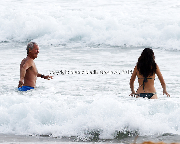 31 DECEMBER 2014 PALM BEACH AUSTRALIA<br /> <br /> EXCLUSIVE PICTURES<br /> <br /> Jessica Gomes pictured with her boyfriend Rocky Elsom having a swim and frolic at Palm Beach on New Years eve.<br /> <br /> *No internet without clearance*.MUST CALL PRIOR TO USE +61 2 9211-1088. Matrix Media Group.Note: All editorial images subject to the following: For editorial use only. Additional clearance required for commercial, wireless, internet or promotional use.Images may not be altered or modified. Matrix Media Group makes no representations or warranties regarding names, trademarks or logos appearing in the images.