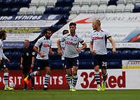 11th July 2020; Deepdale Stadium, Preston, Lancashire, England; English Championship Football, Preston North End versus Nottingham Forest;  Jayden Stockley of Preston North End celebrates after he scores his side's first goal to make the score 1-1 after fifteen minutes