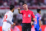 FIFA Referee Tantashev Ilgiz of Uzbekistan (R) reacts to Ahmed Ali Juma of Bahrain (L) during the AFC Asian Cup UAE 2019 Group A match between India (IND) and Bahrain (BHR) at Sharjah Stadium on 14 January 2019 in Sharjah, United Arab Emirates. Photo by Marcio Rodrigo Machado / Power Sport Images
