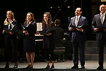 "Helen Hunt, Andrea Burns, Tessa Grady, Javier Munoz and Christopher Jackson during the Opening Night performance bows for ENCORES! Off-Center production of ""Working - A Musical""  at New York City Center on June 26, 2019 in New York City."
