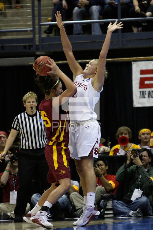 BERKELEY, CA - MARCH 30: Jayne Appel stiffling an opponent's shot during Stanford's 74-53 win against the Iowa State Cyclones on March 30, 2009 at Haas Pavilion in Berkeley, California.
