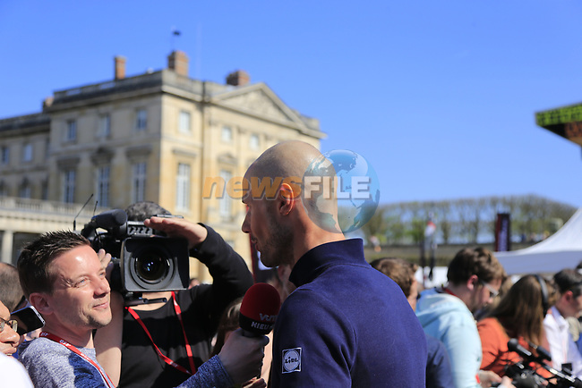 Tom Boonen (BEL) Quick-Step Floors riding his last race talks to media at the Team Presentation for the upcoming 115th edition of the Paris-Roubaix 2017 race held in Compiegne, France. 8th April 2017.<br /> Picture: Eoin Clarke | Cyclefile<br /> <br /> <br /> All photos usage must carry mandatory copyright credit (&copy; Cyclefile | Eoin Clarke)